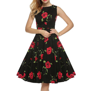 Chicloth Red Rose Island in the Sun Floral Dress