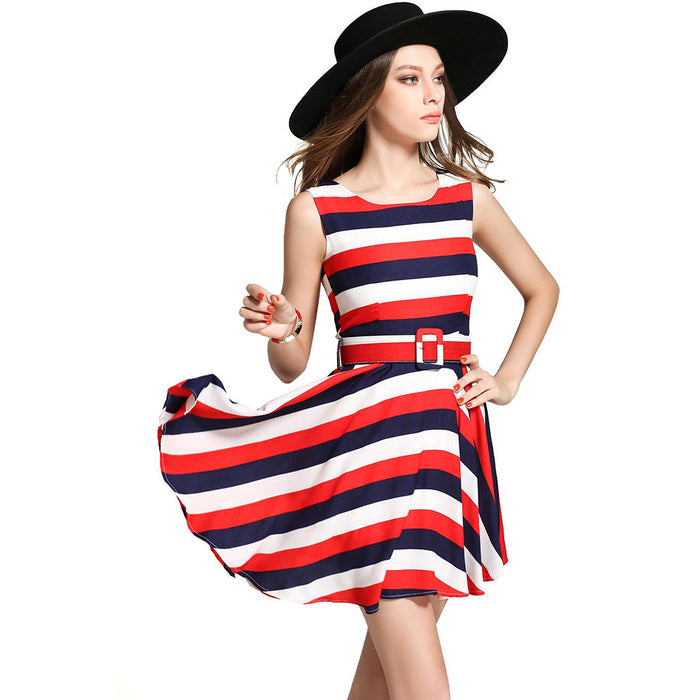 Chicloth Red, Blue & White Striped Princess Dress-Chicloth