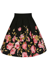 Chicloth Spring Delight Black Floral Skirt