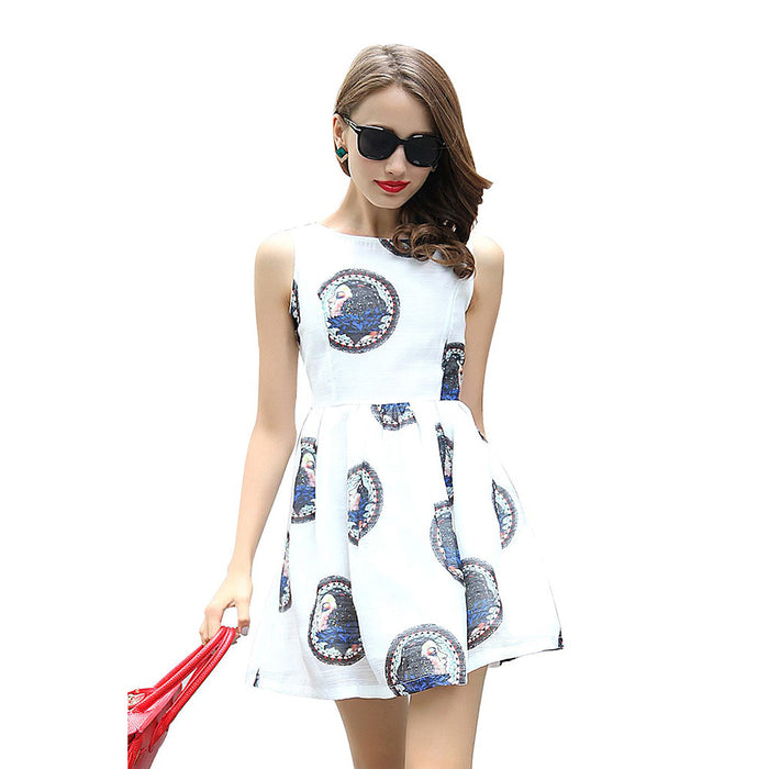 Chicloth Vintage Women Printed White Dress-Chicloth