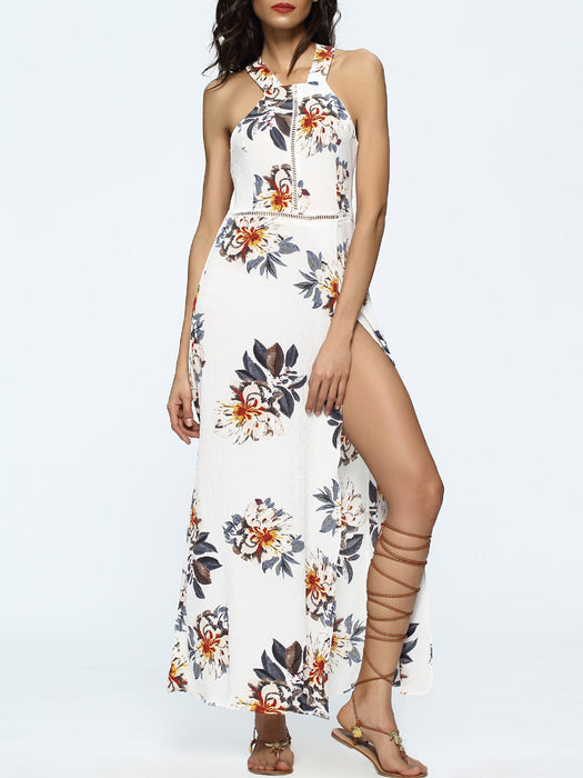 B| Chicloth Sleeveless Open Back Floral Print Dress-Chicloth