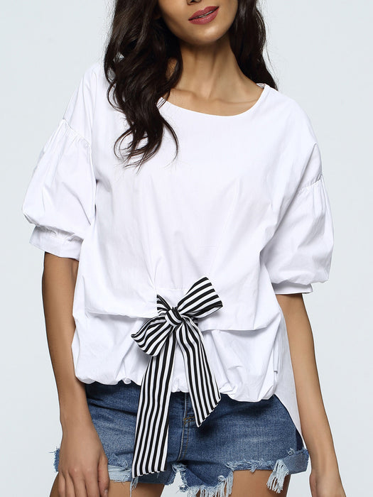 Chicloth Middle Sleeve Bow tie T-Shirt-Chicloth