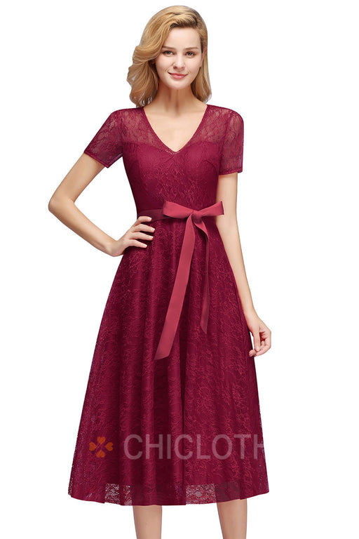 AA| Chicloth A-line Burgundy Lace Short Sleeves Prom Dresses