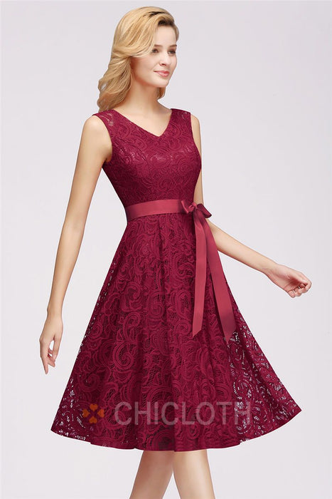 AA| Chicloth Lace Short Plus Size Sleeveless Wedding Party Dresses