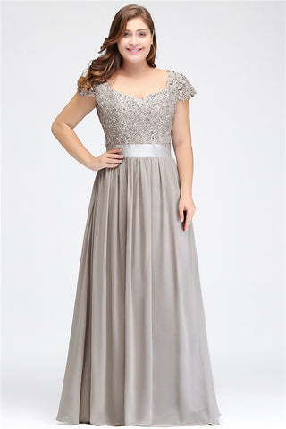 A| Chicloth A-line V Neck Chiffon Bridesmaid Dress with Appliques-Evening Dresses-Chicloth