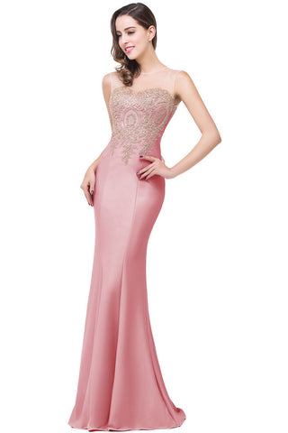 A| Chicloth Cheap Mermaid Longue Formal Party Evening Gown With Appliques(In Stock)-Evening Dresses-Chicloth