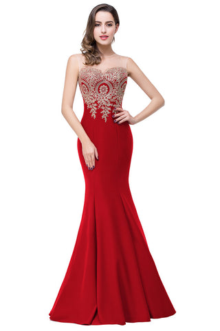 A| Chicloth Mermaid Applique Evening Gowns Formal Party Dresses(In Stock)-Evening Dresses-Chicloth