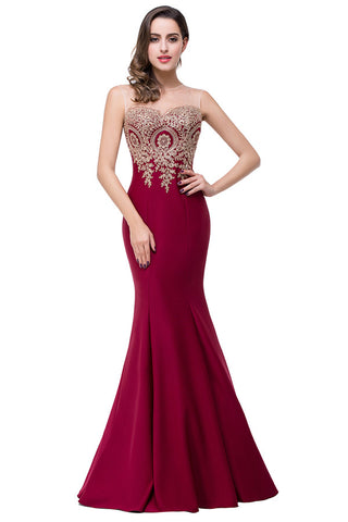 A| Chicloth Mermaid Floor-Length Sheer Prom Dresses with Rhinestone Appliques(In Stock)-Evening Dresses-Chicloth