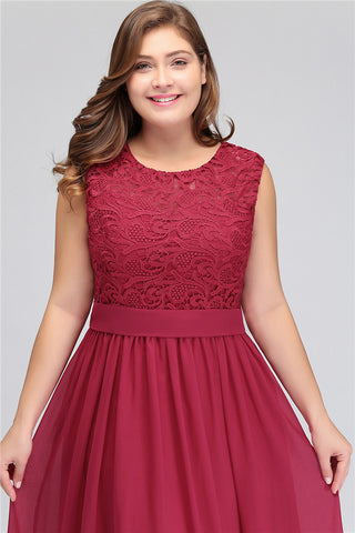 A| Chicloth Crew Neck Lace Bridesmaid Dress Plus Size Prom Evening Dress Formal-Evening Dresses-Chicloth