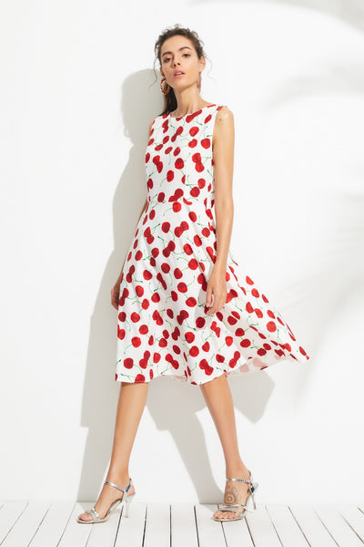A| Chicloth Cute Cherry Printed Midi Dress - Chicloth