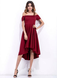 A| Chicloth Asymmetric Off Shoulder High Waist Women's Midi Dress