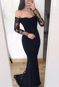 Chic Long Sleeve 2019 Evening Dress | Mermaid Lace Formal Dress
