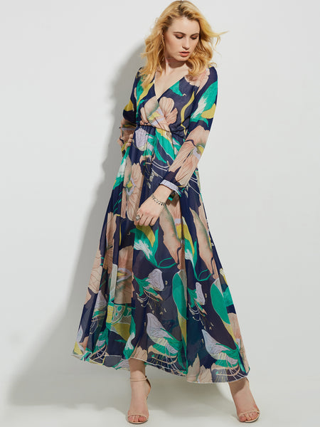 Chicloth Blue Flower Print Deep V-Neck Long Sleeve Maxi Dress