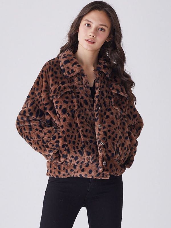 Brown Shift Leopard Print Casual Fur And Faux Fur Coats-Faux Fur Coats-Chicloth