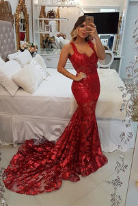 Modest Red Straps Mermaid Sweep Train Evening Dress | Lace Party Gown