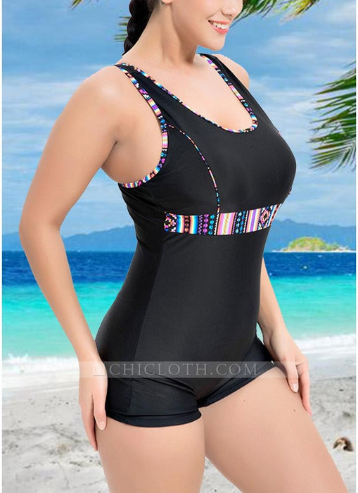 B| Chicloth Plus Size Printed Sports Swimsuit-nylon,polyester,plussizeswimsuit-Chicloth