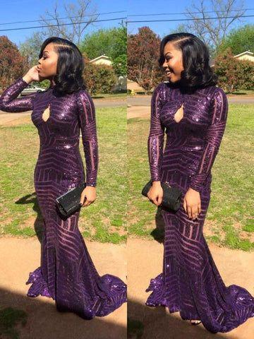 2018 Sexy High-Neck Sequins Prom Dress Mermaid Keyhole Long-Sleeve