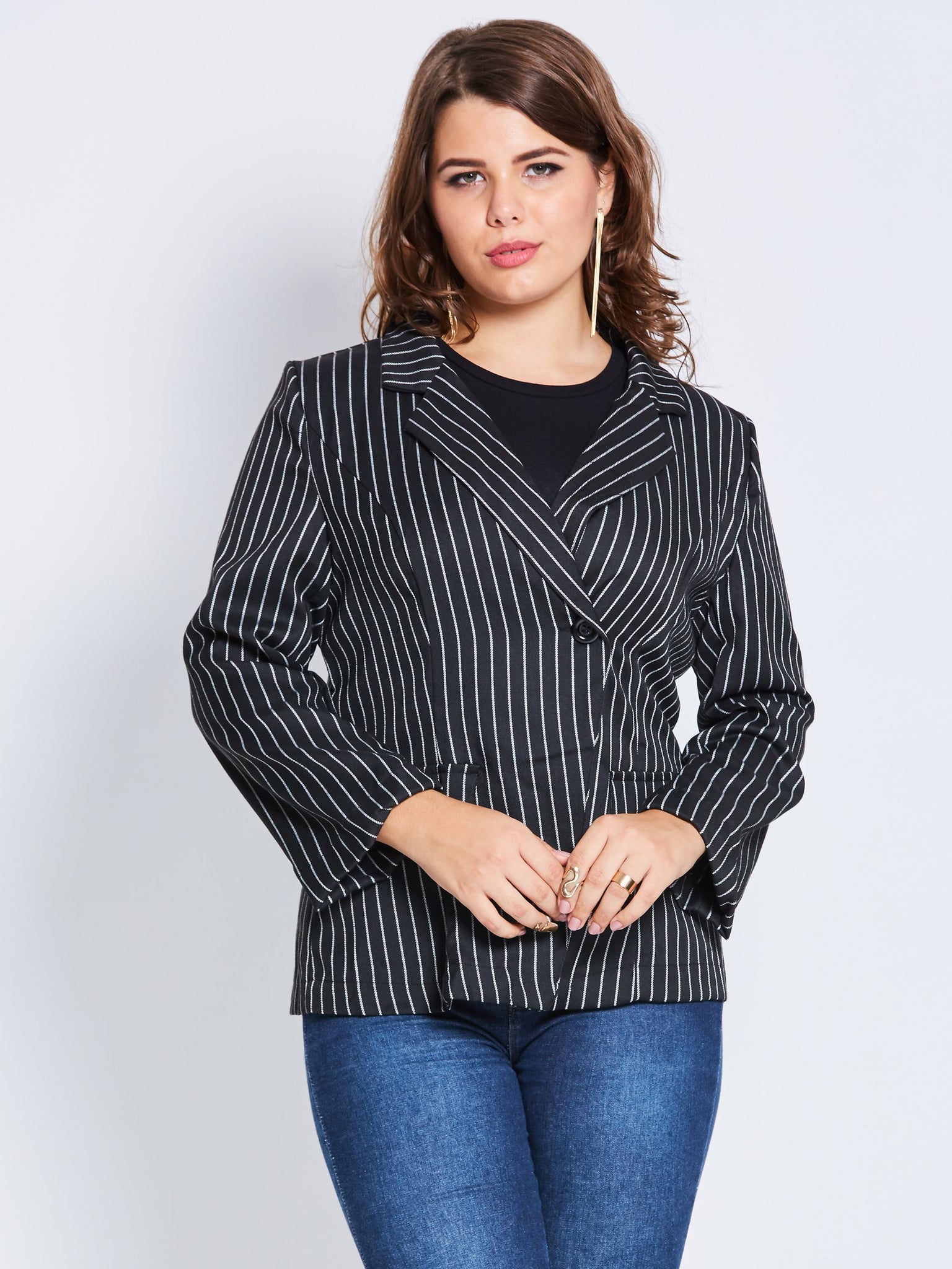 Chicloth Black and White Stripe Plus Size Blazer