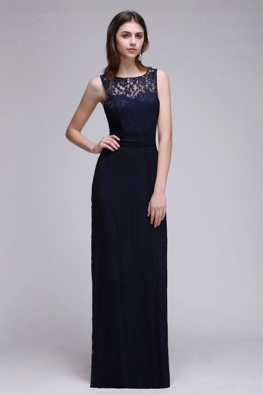 Chicloth Elegant A-Line Lace Scoop Sleeveless Hollow-Back Floor-Length Bridesmaid Dress-Bridesmaid Dresses-Chicloth