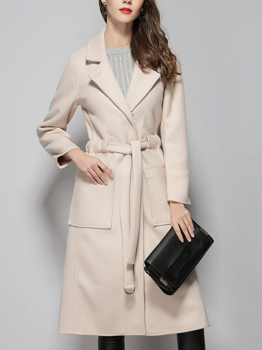 Apricot Work Wool Shift Pockets Lapel Coats & Jackets-Coats & Jackets-Chicloth