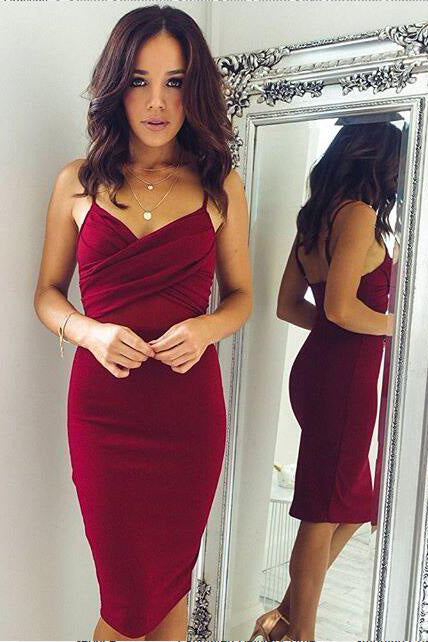 B/ Chicloth Sheath Spaghettis-Straps Sexy Burgundy Homecoming Dresses - More Colors / US 8