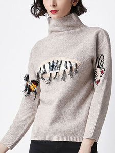 Apricot Casual Embroidered Animal Sweater