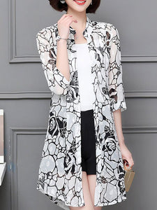 3/4 Sleeve Casual Chiffon Abstract See-through Look Printed Coat