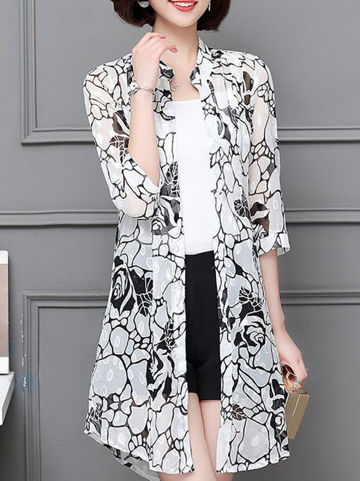 3/4 Sleeve Casual Chiffon Abstract See-through Look Coats & Jackets-Coats & Jackets-Chicloth