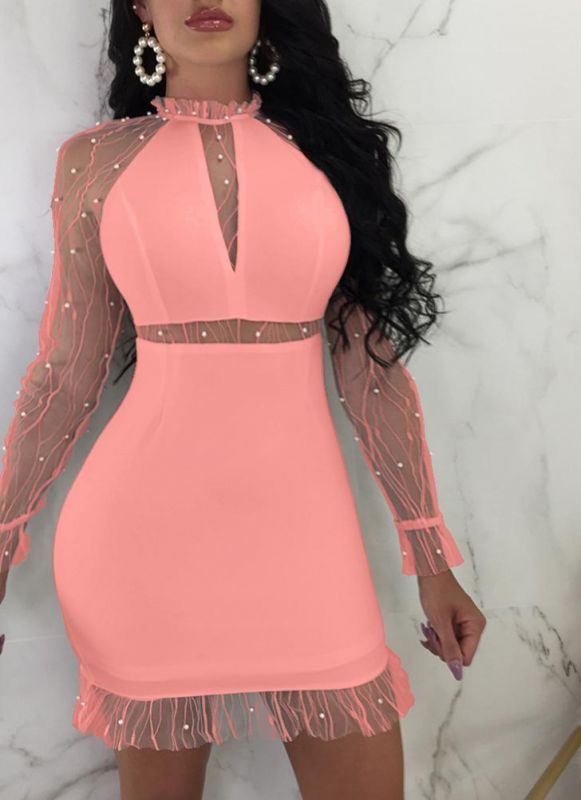 B/ Chicloth Party Mesh Splice Long Sleeves Dress Pearls Ruffled High Neck Mini Dress - Watermelon / L