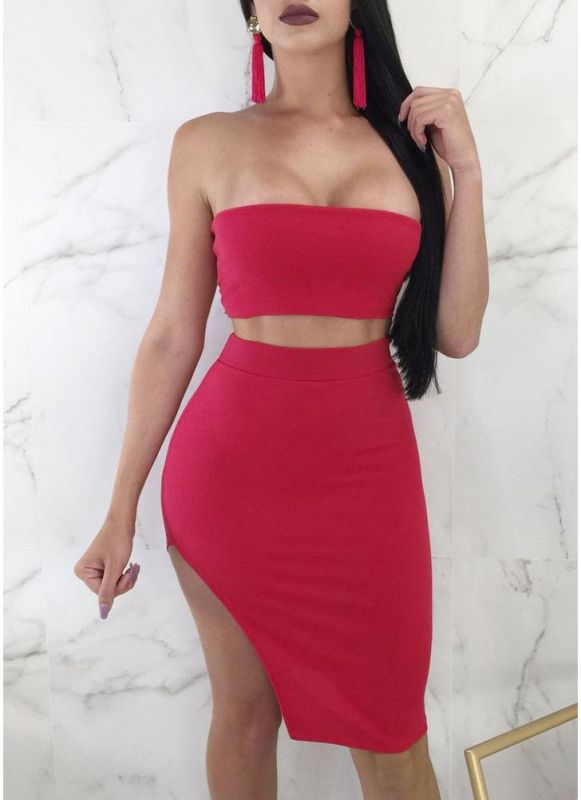 B/ Chicloth Strapless Bandeau Lace Up Bandage High Waist Suit - Pink / L