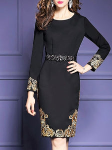 Black Midi Dress Bodycon Party Dress Long Sleeve Elegant Embroidered Prom Dresses-Midi Dresses-Chicloth