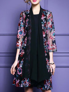 Black Floral Shift 3/4 Sleeve Casual Coat
