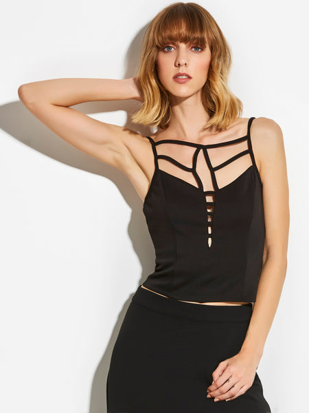 Chicloth Black Stripe Open Back Sleeveless Top