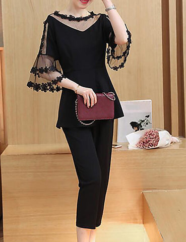 Women's Casual/Daily Work Party Sexy Cute Street chic Spring Summer Blouse Pant SuitsSolid Round Neck 1/2 Length Sleeve Lace-Chicloth