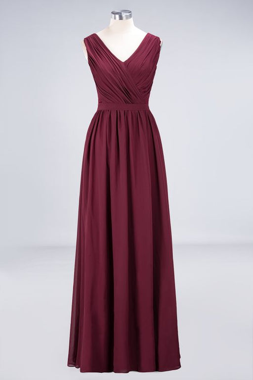 Chicloth A-Line Chiffon Lace V-Neck Sleeveless Floor-Length Bridesmaid Dress with Ruffles-Bridesmaid Dresses-Chicloth