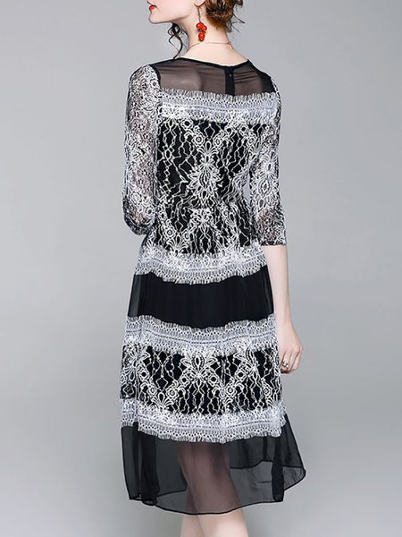 Black Graphic Crew Neck Elegant Guipure lace See-through Look Prom Dresses-Midi Dresses-Chicloth