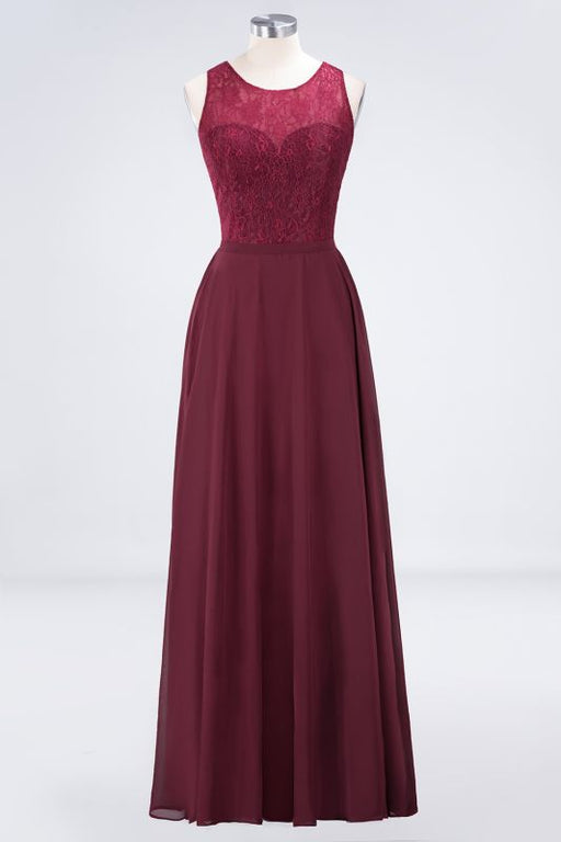 Chicloth A-Line Chiffon Lace Jewel Sleeveless Hollowout Floor-Length Bridesmaid Dress-Bridesmaid Dresses-Chicloth