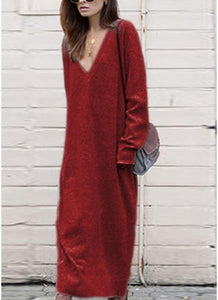 B| Chicloth Winter Women Maxi Loose Deep V Neck Long Sleeve Knitted Dress