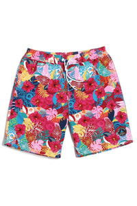 A| Chicloth Floral Print Men's Swim Trunks Water Shorts Swimwear Casual Beach Shorts-Chicloth