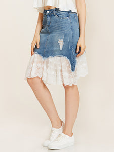 Chicloth Blue Hole Denim Lace Patchwork Mermaid Skirt