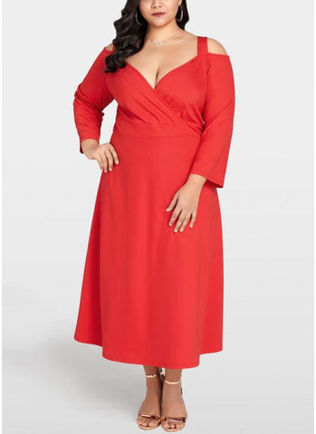 B| Chicloth Women Plus Size Cold Shoulder Dress Long Sleeve Cocktail Evening Party Dress-polyester,anklelength,vneck,plussizedresses-Chicloth