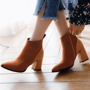 Chunky Heel Suede Elegant Round Toe Boots