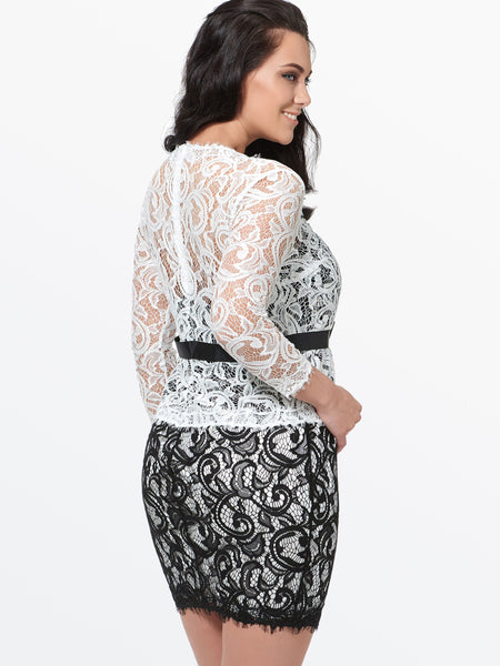 Chicloth Black and White Lace Hollow Belt Bodycon Plus Size Dress-Plus Size Dress-Chicloth
