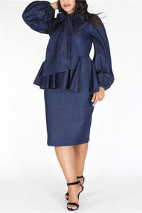 A| Chicloth Plus Size Denim Ruffle Bow Long Sleeve Dress