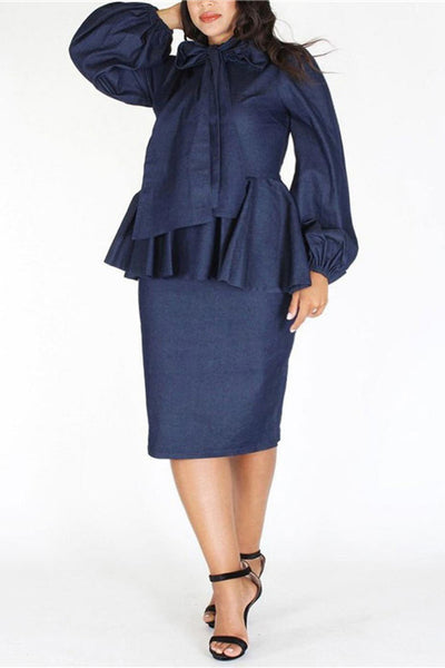 A| Chicloth Plus Size Denim Ruffle Bow Long Sleeve Dress-plus size dresses-Chicloth