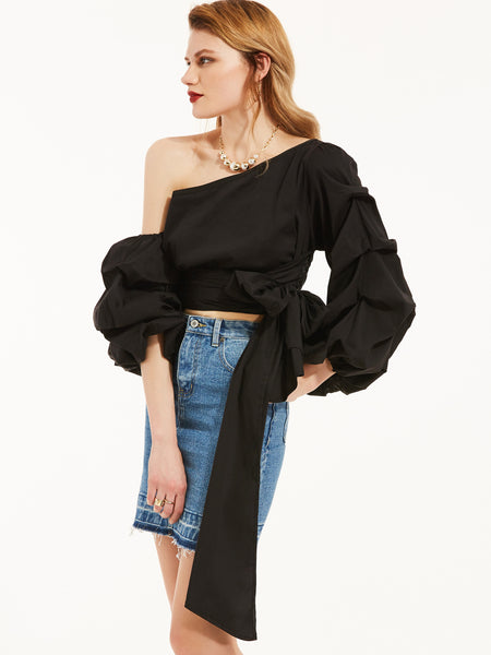 Chicloth Black Oblique Collar Puff Sleeves Plain Blouse