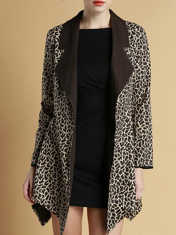 Brown Shawl Collar Asymmetrical Leopard Print Coats & Jackets-Coats & Jackets-Chicloth