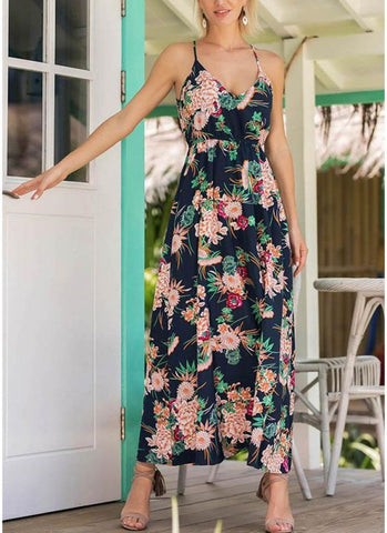 A| Chicloth Boho Floral Print Spaghetti Strap Dress Casual Elastic Waist Maxi Dress