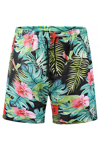 A| Chicloth Floral Print Mens Beach Board Swim Shorts-Chicloth