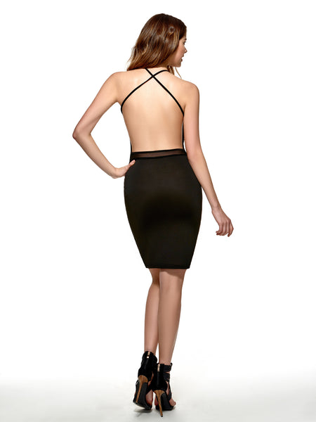 Chicloth Black Sleveless Backless Black Women's  Bodycon Dress